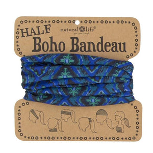 Natural Life Half Boho Bandeau Navy Green Ikat - Global Free Style