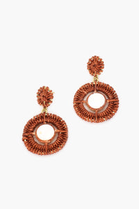 Adorne Crochet Shell Centre Stud Drop Earrings Toffee/Cream - Global Free Style