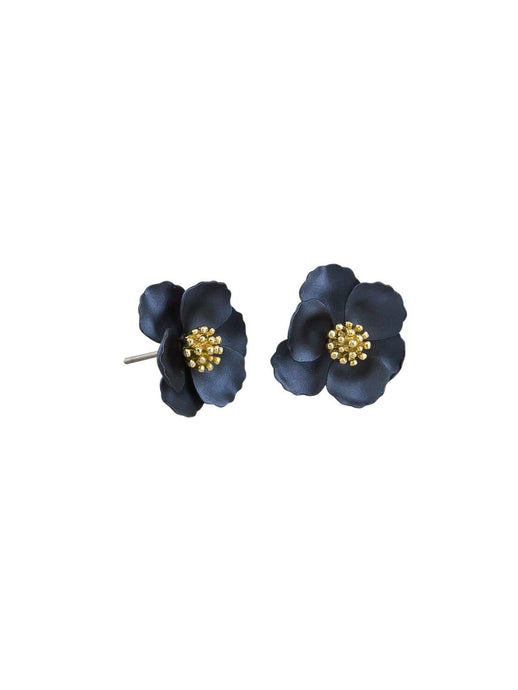 Tiger Tree Pansy Earrings Navy - Global Free Style