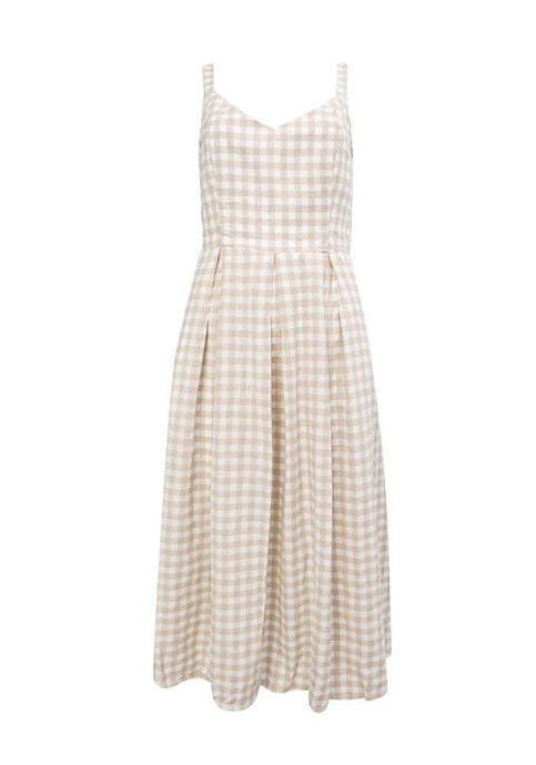 Sunny Girl Sheila Sleeveless Checked Dress Beige - Global Free Style