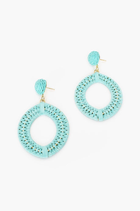 Adorne Natural Weave Button Top Stud Earrings Mint - Global Free Style