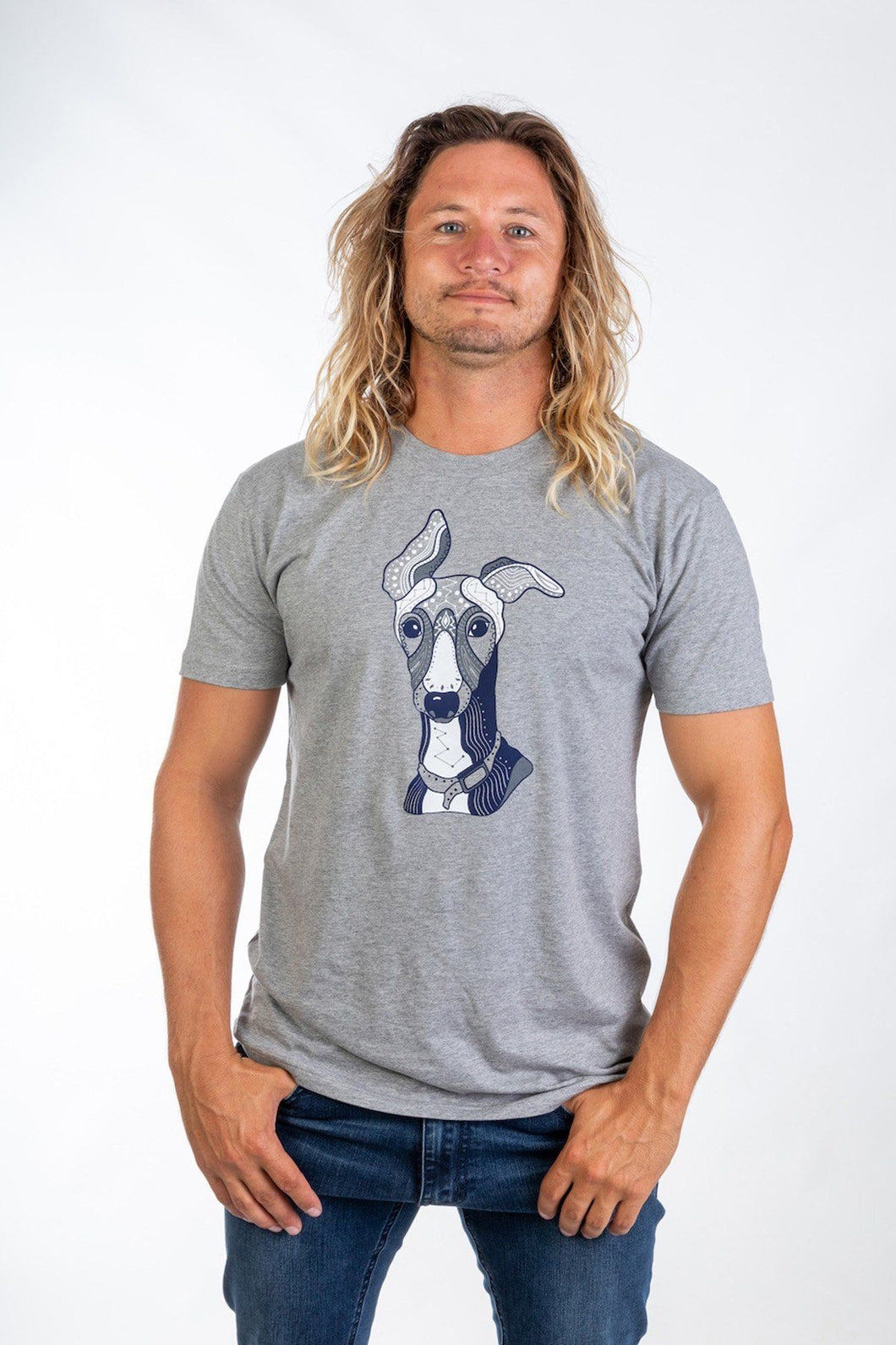 Skumi Mens T shirt Grey Hound Grey - Global Free Style