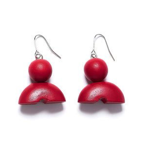 Rare Rabbit Ball and Half Donut earring (cherry red) - Global Free Style