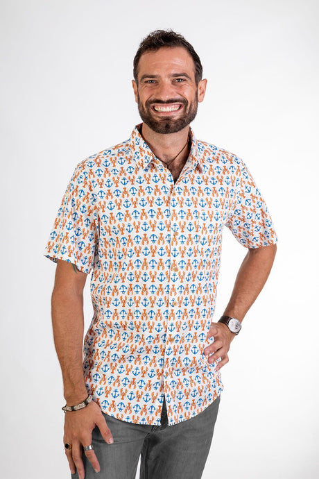 Skumi Mens Button Up Short Sleeve Lobster and Anchor White - Global Free Style