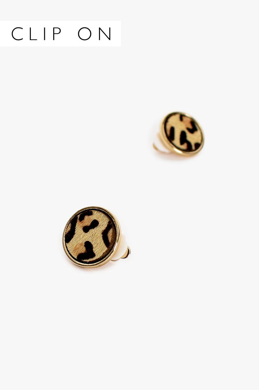 Adorne Hide Button Clip On Earrings Leopard Gold - Global Free Style