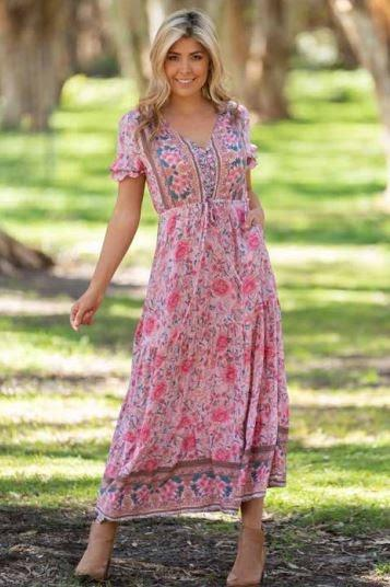Boho Fulton Maxi Dress Pink - Global Free Style