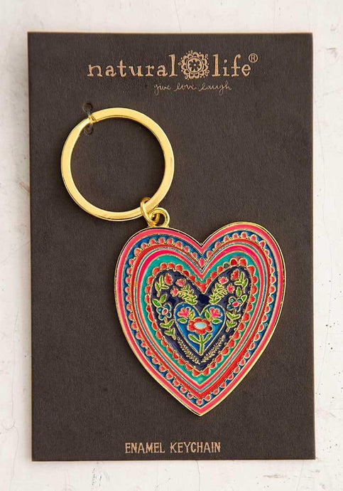 Natural Life Enamel Keychain Heart - Global Free Style