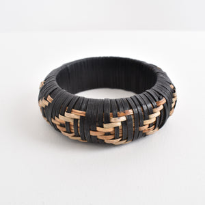 Adorne Two Tone Rattan Weave Bangle - Global Free Style
