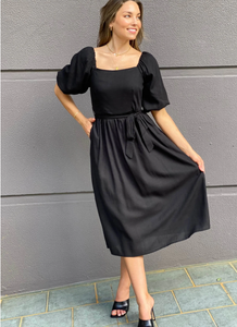 Teaberry Linen Puff Shoulder Dress Black - Global Free Style