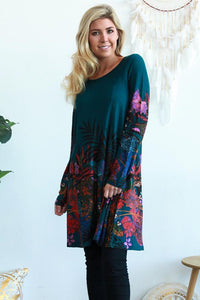 Cherry Tree Yesfir Winter Long Sleeve Tunic Dress Green Purple - Global Free Style
