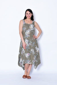 Cali & Co Flower Print Linen Pinafore Dress Khaki - Global Free Style