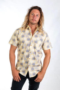 Skumi Mens Button Up Short  Sleeve Fan Palm - Canary Yellow - Global Free Style