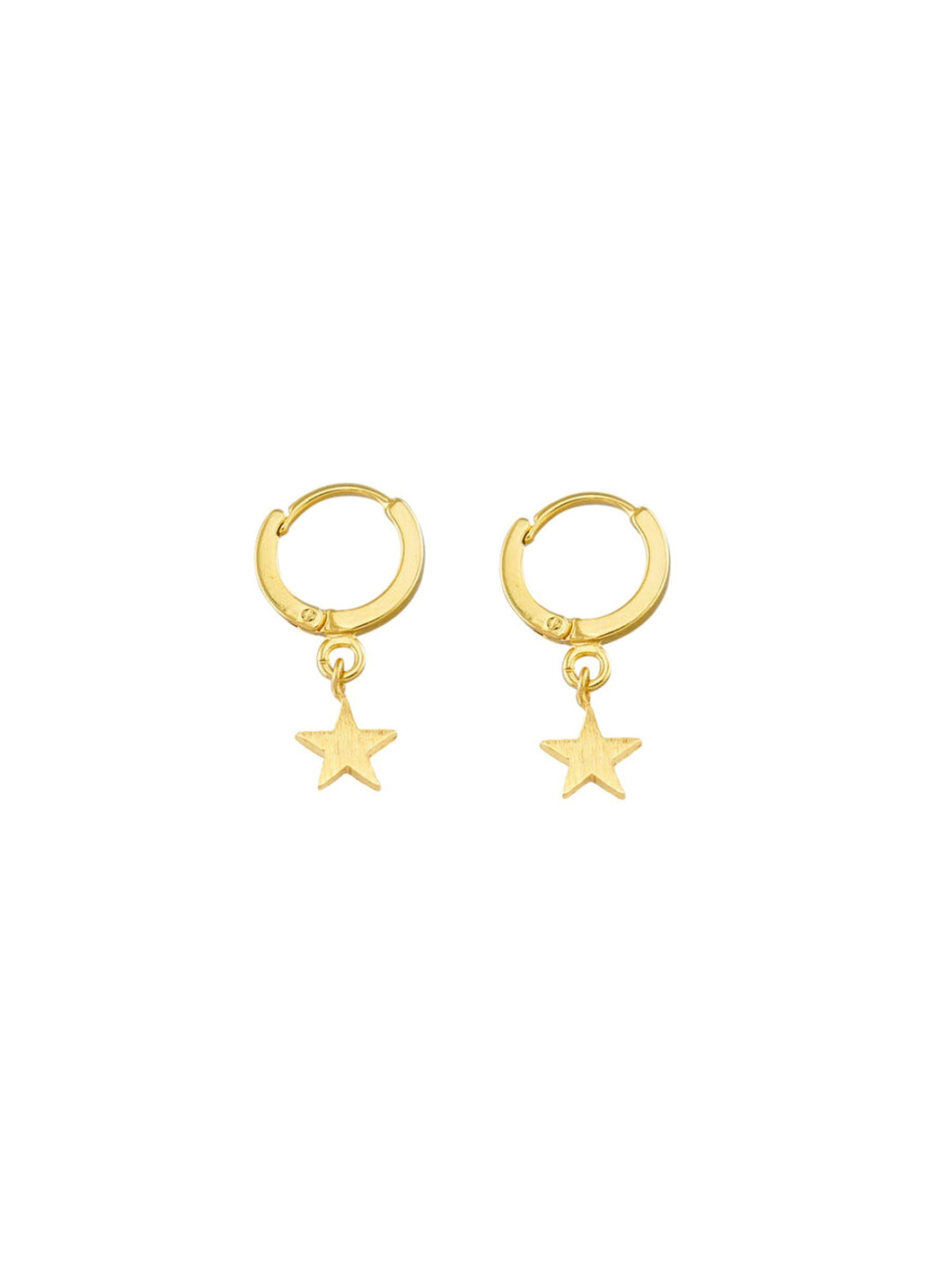 Tiger Tree Star Huggie Sleeper Earrings Gold - Global Free Style