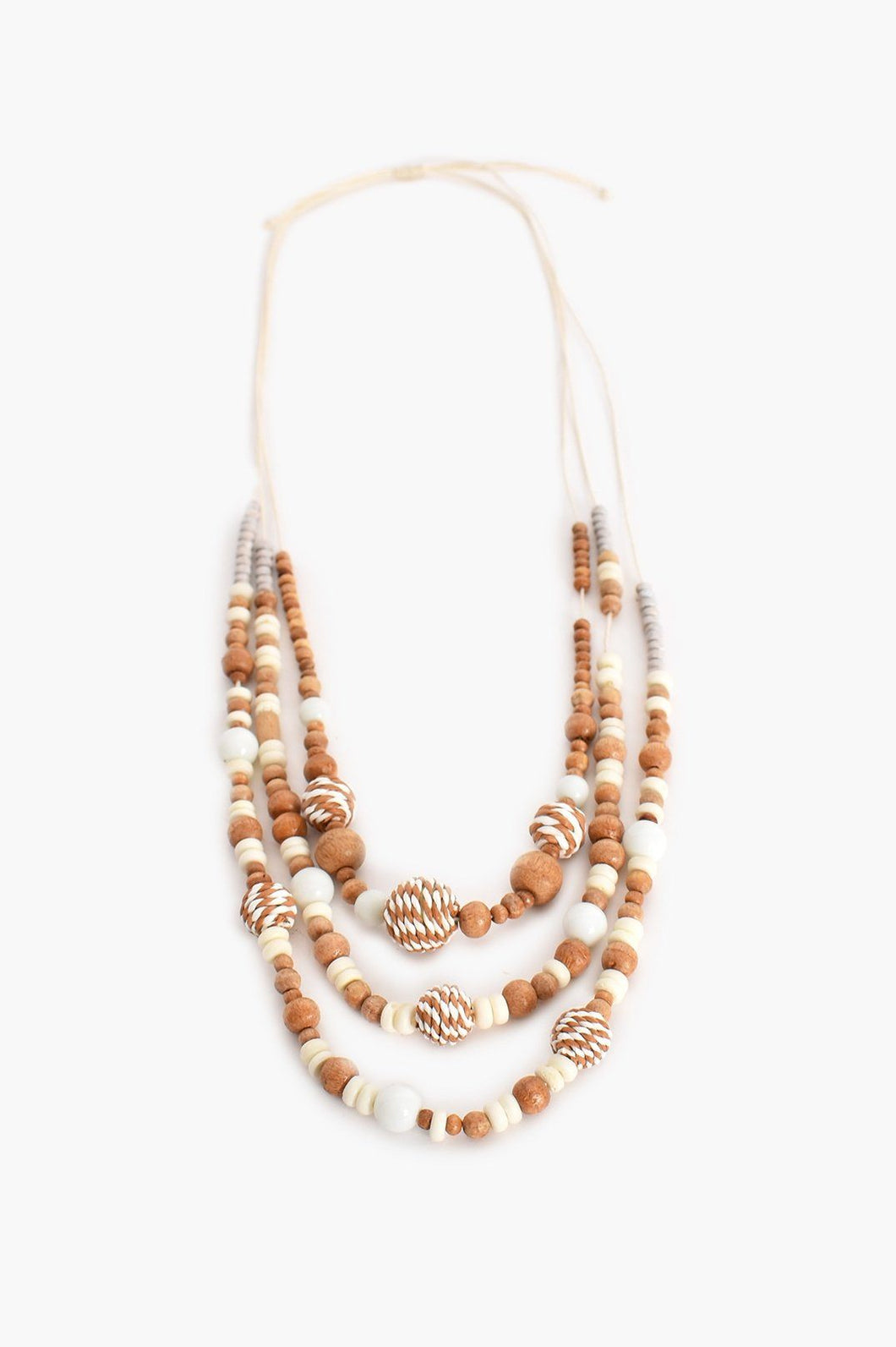 Adorne Layered Timber Weave Ball Necklace (Natural Cream) - Global Free Style