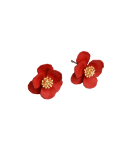 Tiger Tree Pansy Earrings Red - Global Free Style