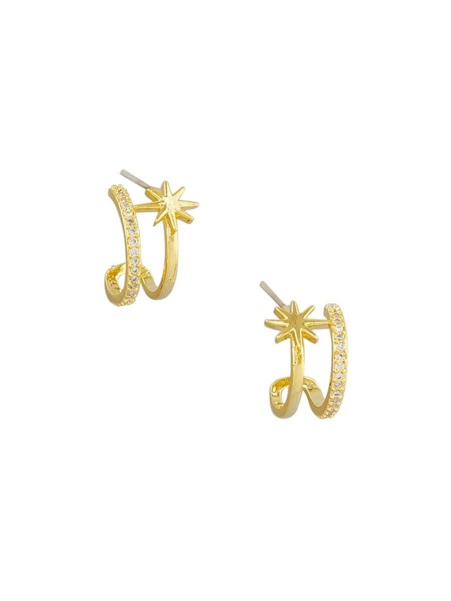 Tiger Tree Double Huggie Star Earrings Gold - Global Free Style