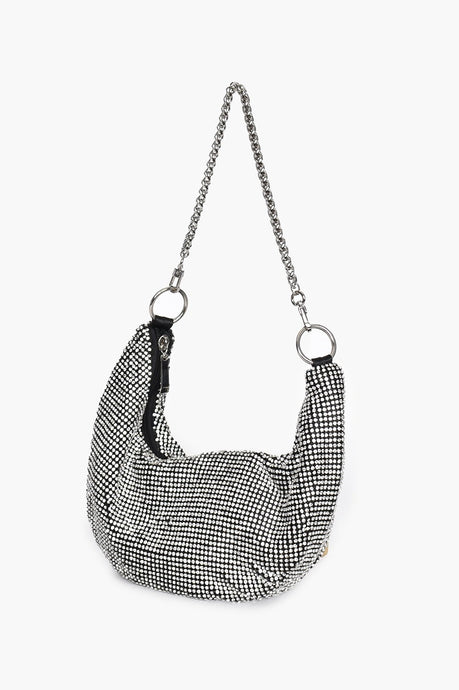 Adorne Diamante Curved Chain Handle Bag Crystal - Global Free Style