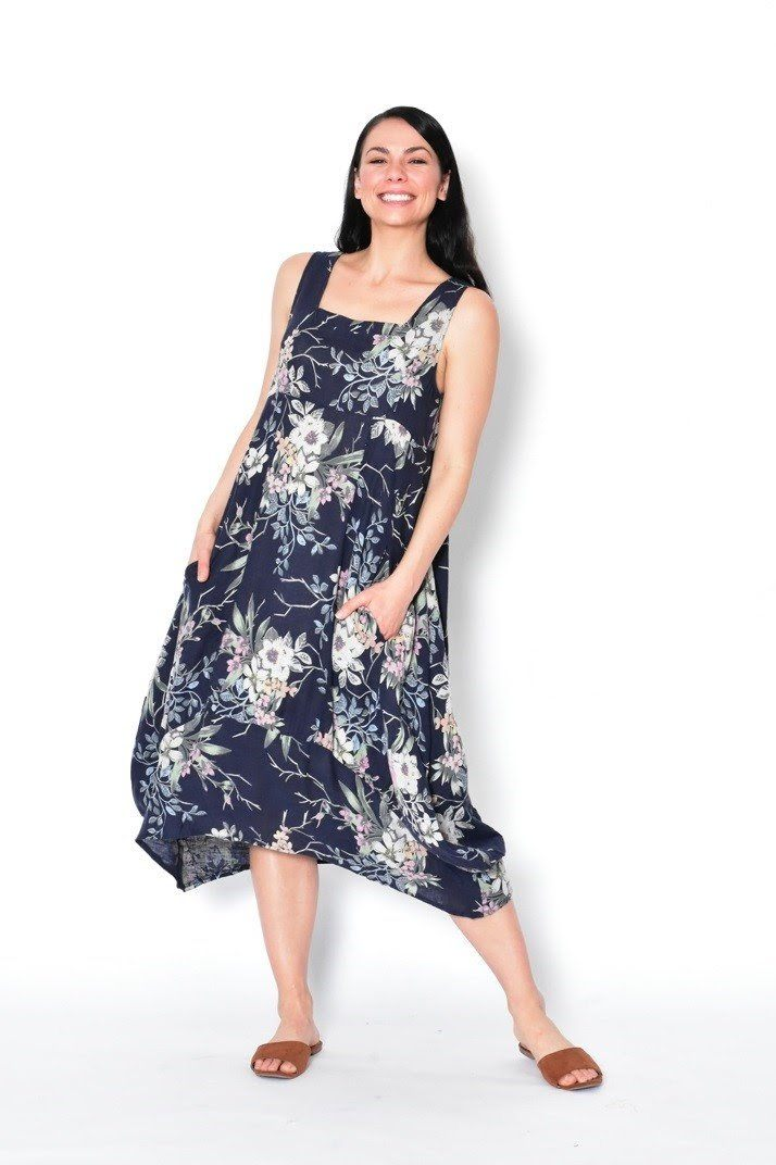 Cali & Co Long Pinafore Dress Bouquet Navy - Global Free Style