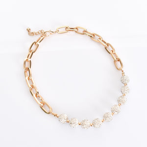 Adorne Diamante Ball and Chain Necklace Gold Crystal - Global Free Style