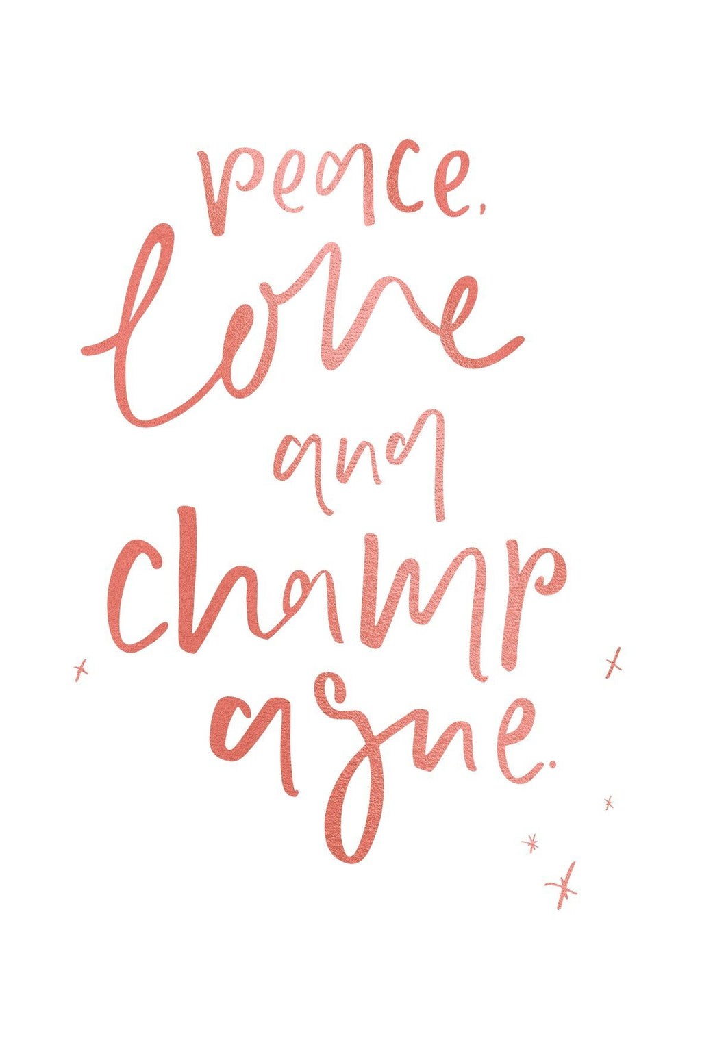 Emma Kate Peace Love Champagne Greeting Card - Global Free Style