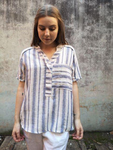 Worthier Sally Striped Linen Top White Stripe - Global Free Style