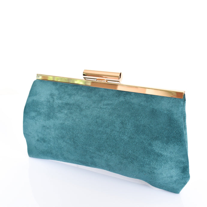 Adorne Clip Top Micro Suede Frame Clutch Teal - Global Free Style