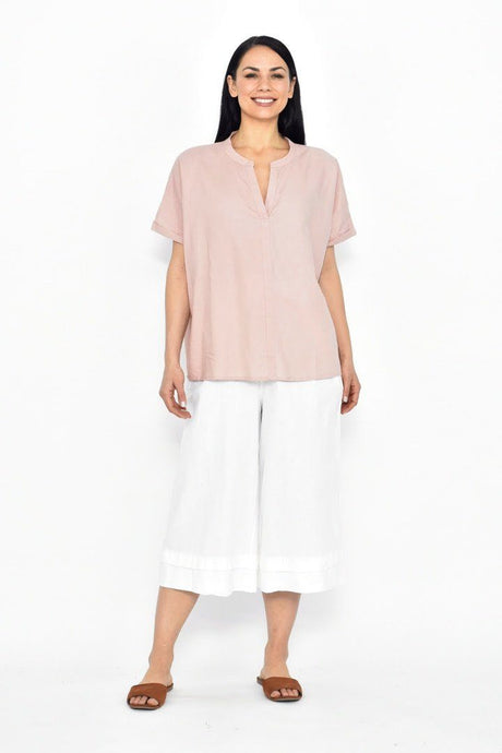 Cali & Co Mayi Linen Top Dusty Pink - Global Free Style