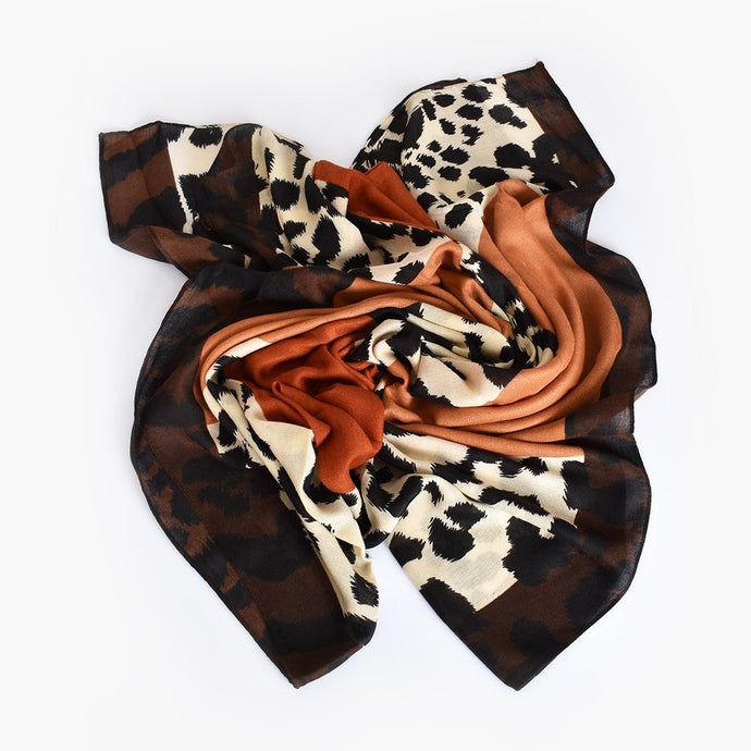 Adorne Abstract Animal Print Scarf Tan Chocolate - Global Free Style