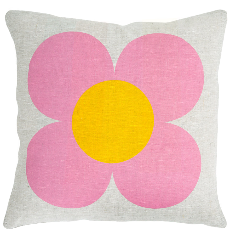 Big Pink Flower Cushion Ruby Red Star