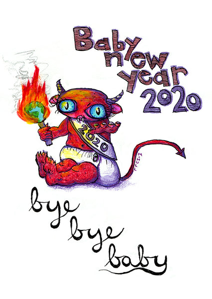 Bye Bye Baby New Year 2020 art cards