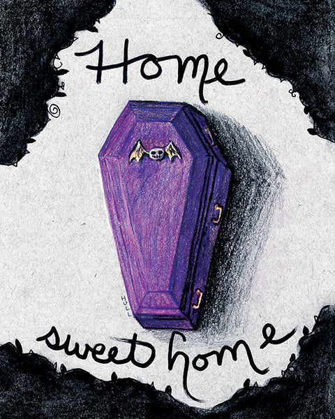 Home Sweet Home Purple Coffin Art Print