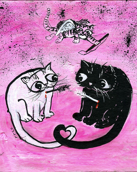 Love Cats in Pink - Cute Bloody Valentine Art