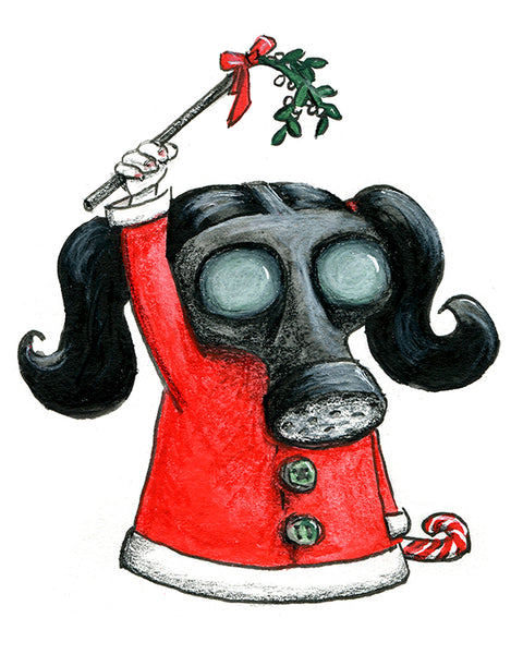 Xmas Art - Mistletoe Girl with Gas Mask