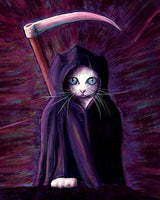 White reaper cat with scythe