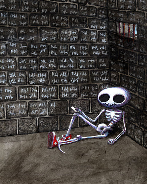 Make Your Mark on the World PAINTING (wordless)- Skeleton in Sneakers Art