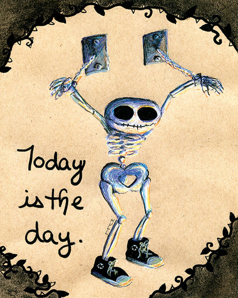 Grinning Inspirational Skeleton Wearing Sneakers