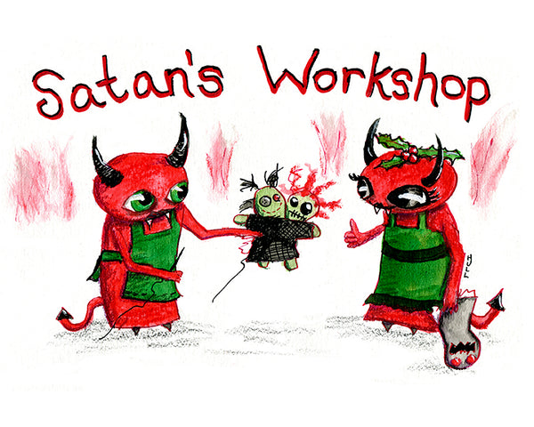Satan's Workshop holiday cards