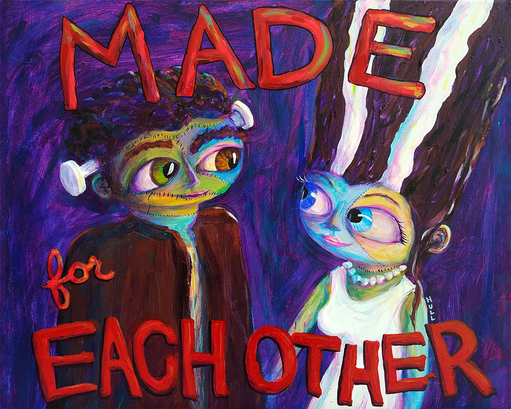 Made for Each Other - Frankenstein and his Bride Love Art