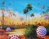 Coronastorm - Coronavirus Snowstorm with Palm Trees, Pandemic Art