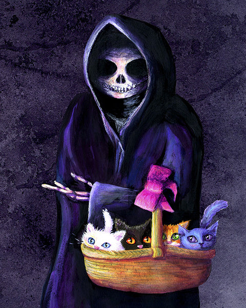 Death-absorbing Kittens - Grim Reaper Holding a Basket of Kittens Art