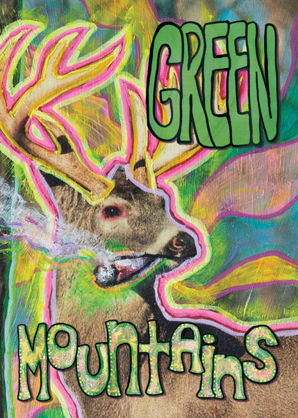 Green Mountains - Vermont Weed-Smoking Deer Art