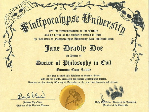 PhD in Evil, Art Novelty Diploma