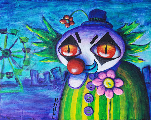 Happy Stayed Late at the Fair - Evil Clown Art