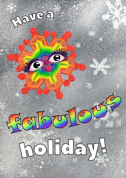Have a Fabulous Holiday - rainbow snowflake art cards