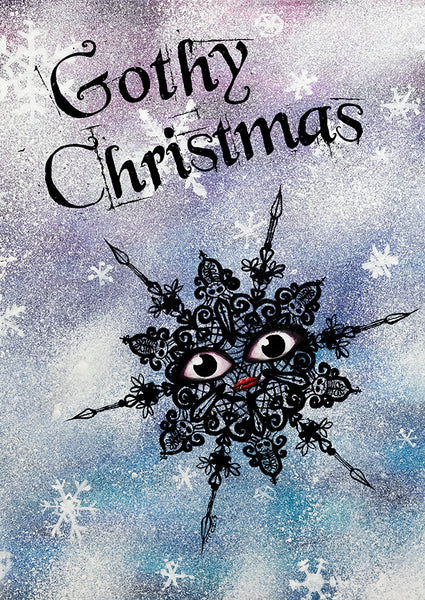 Gothy Christmas - black snowflake holiday art cards