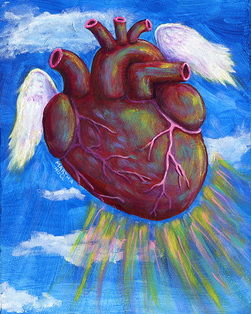 Flying Anatomical Heart - SOAR blue sky art