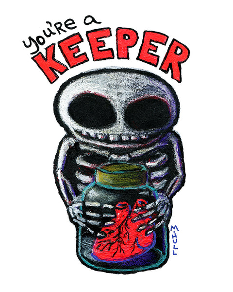You're a Keeper Skeleton with Heart in Specimen Jar Art
