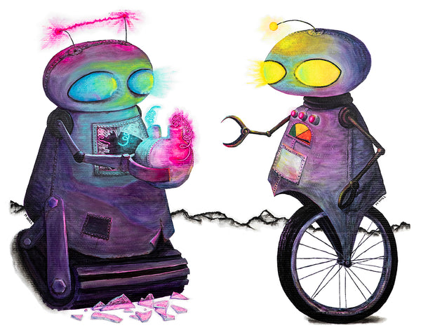 Lovebots - Post-apocalyptic robots in love art