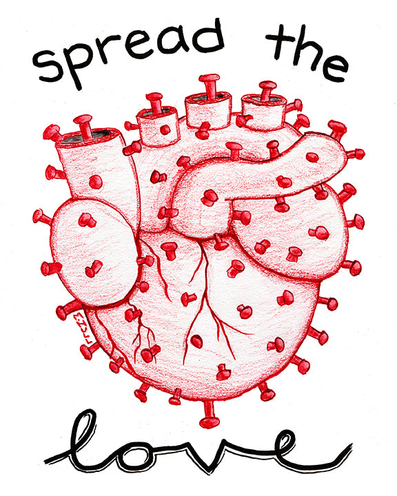 Spread the Love Coronavirus Heart Art