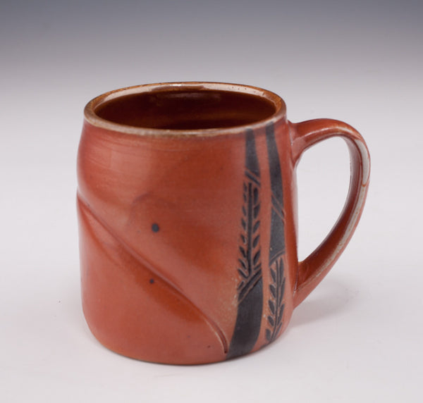 Small salt fired carved mug